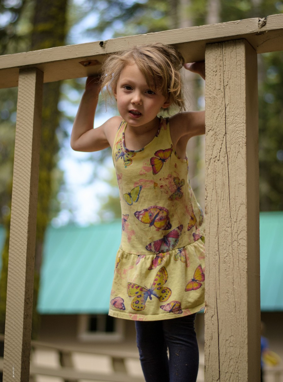 Family photography girl railing cabin home