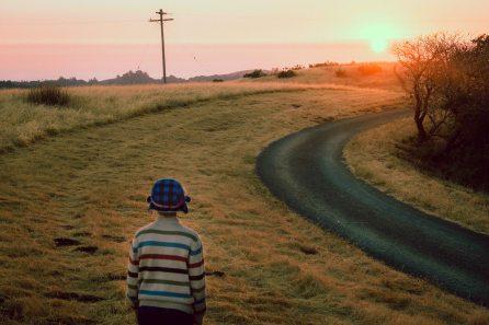 Family photography ranch boy setting sun