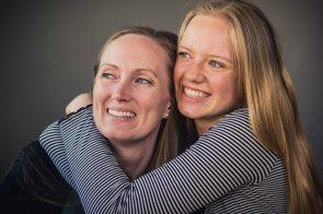 mother daughter family portrait smiles joy