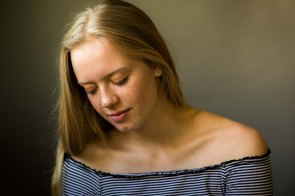 daughter family portrait formal earnest freckles
