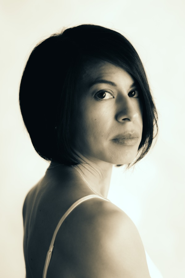 black and white portrait woman eyes shoulders hair