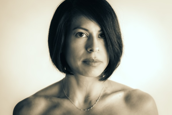 Portrait photography black and white woman eyes shoulders hair clavicle