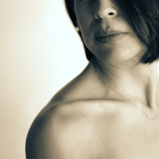 Portrait photography black and white woman's lips shoulder clavicle