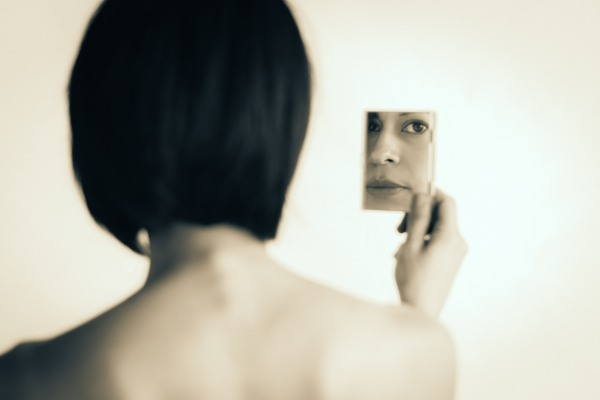 Portrait photography fine art black and white mirror back eyes