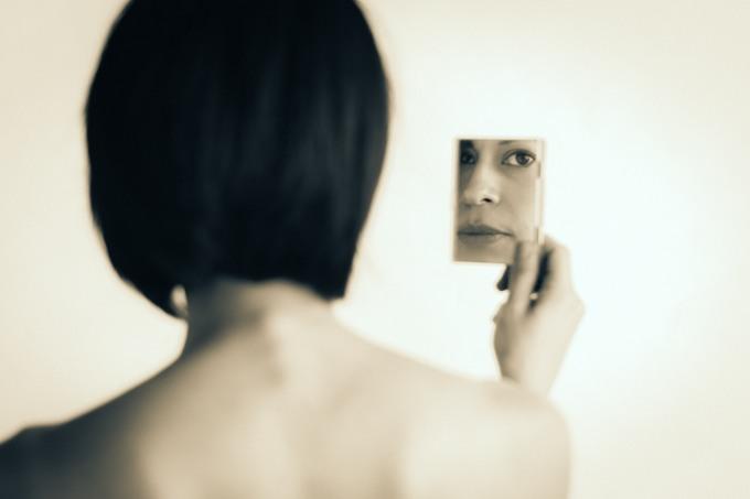 Portrait photography fine art black and white mirror back eyes