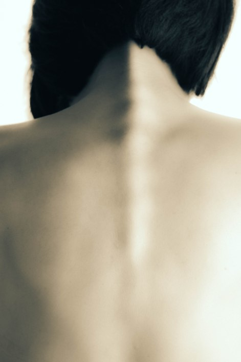 Portrait photography woman's spine fine art black and white spine