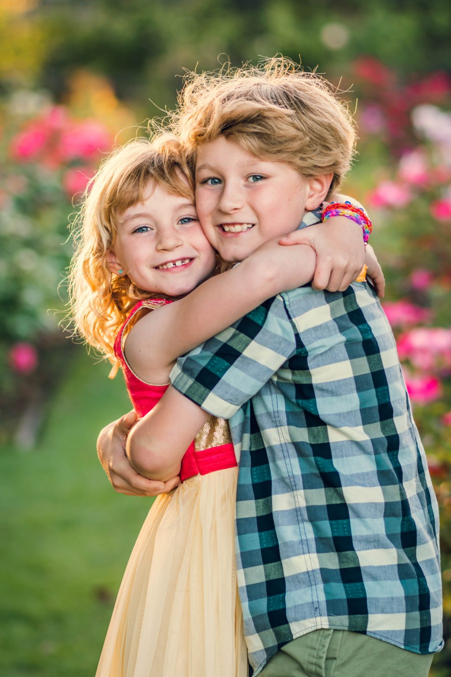 Family photography bay area san jose rose garden portrait of brother and a sister