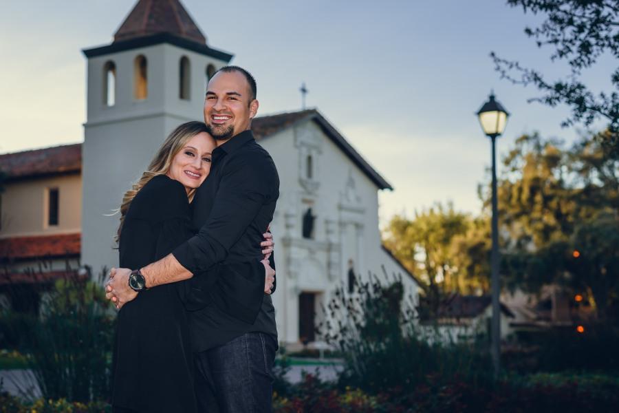 neilson family photography photographer engagement photoshoot santa clara university church