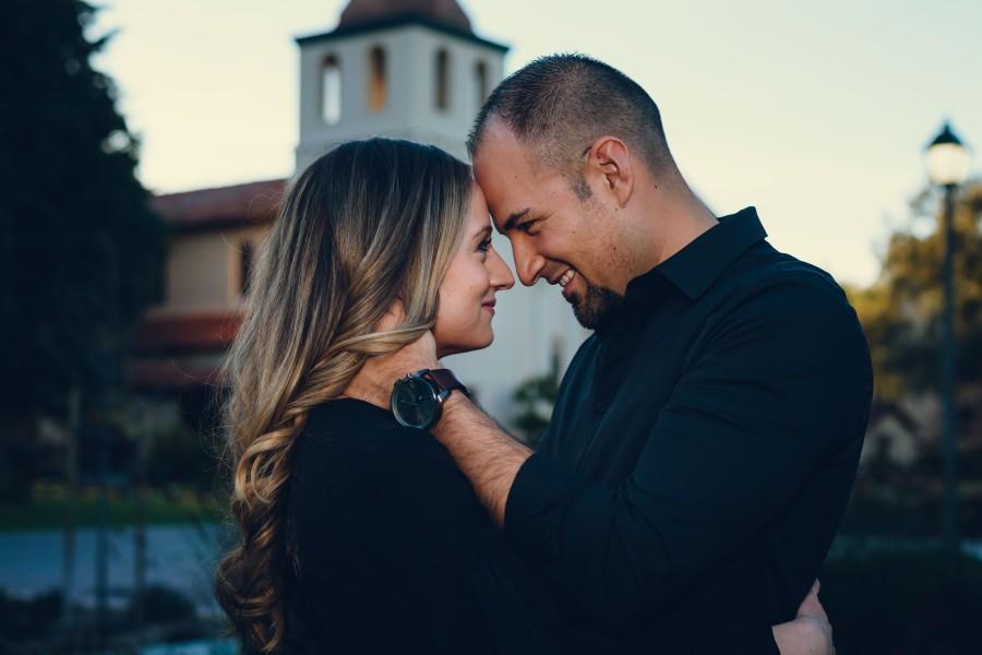 neilson family photography photographer engagement photoshoot santa clara university church touch