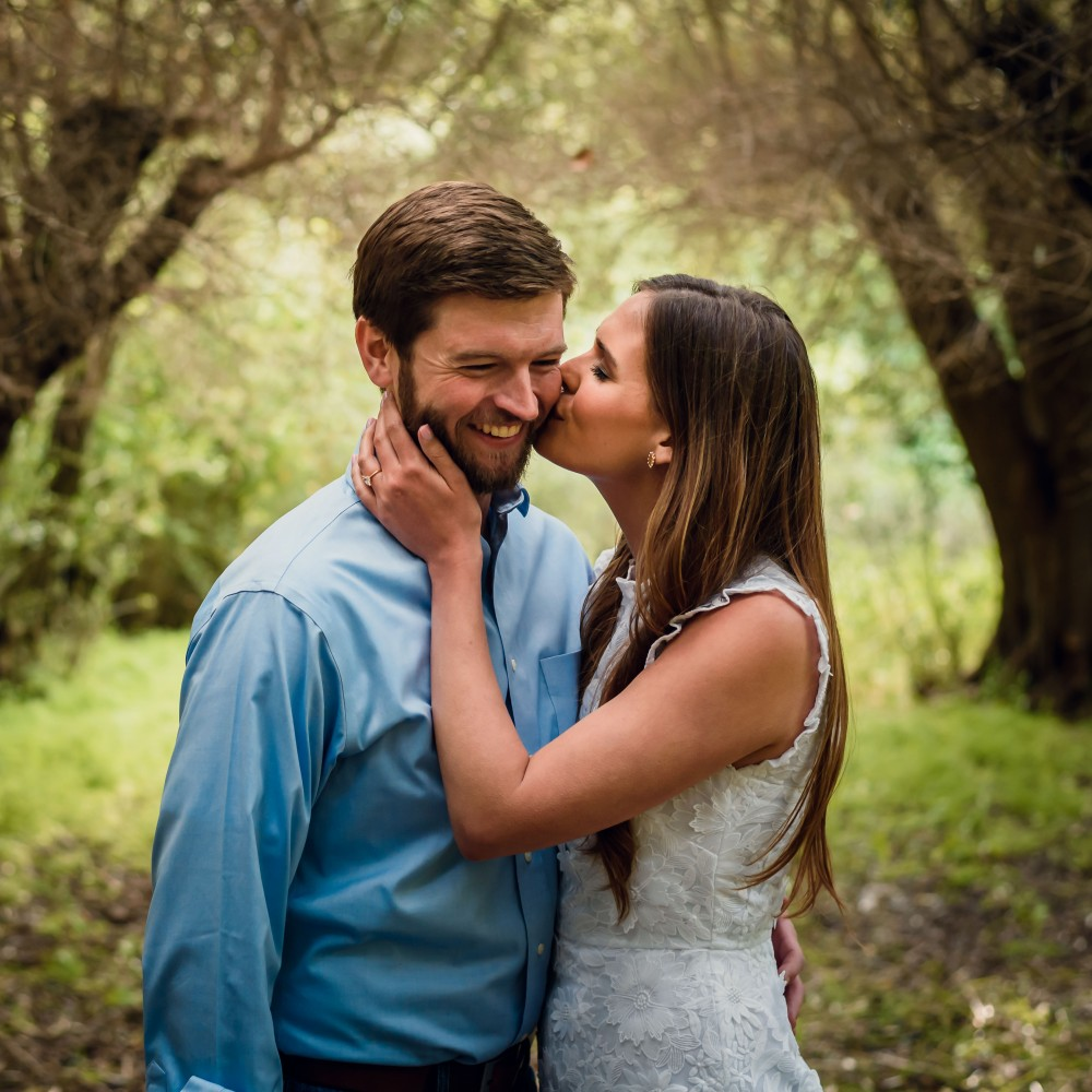 bay area photographer couples engagement photography olive grove kiss