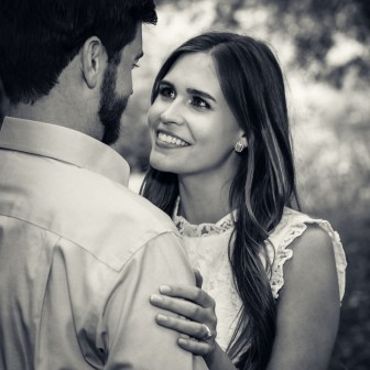 bay area photographer couples engagement photography olive grove bride smile black and white