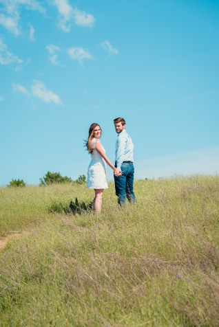 bay area photographer couples engagement photography mountains looking back on trail