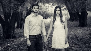 bay area photographer couples engagement photography olive grove expressionless black and white
