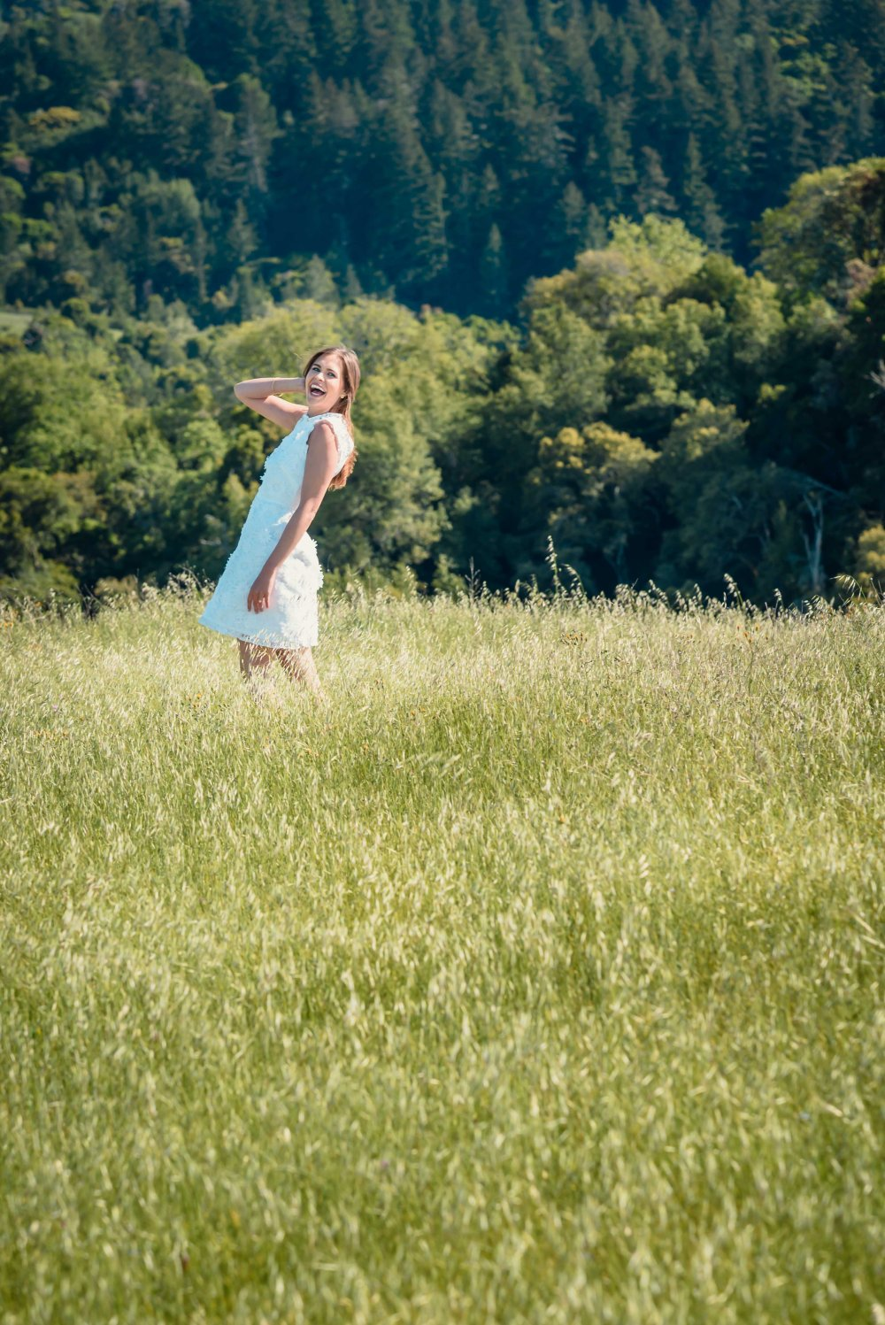 bay area wilderness couples engagement photography photographer mountains white dress in distance