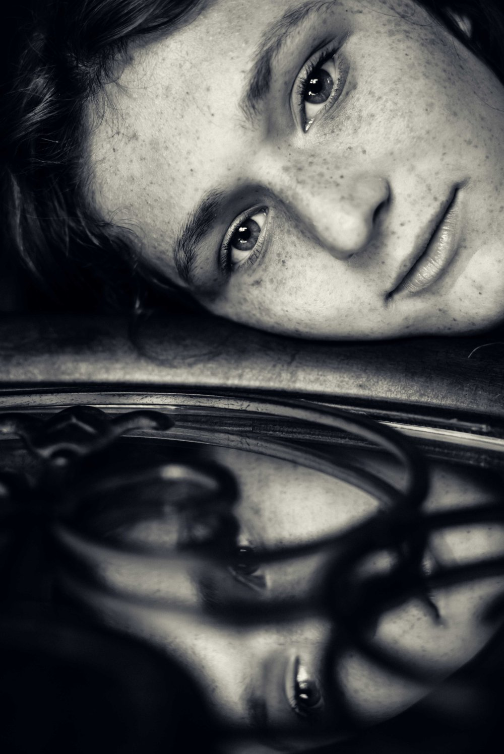 neilson portrait fine art photography bay area photographer freckles face mirror