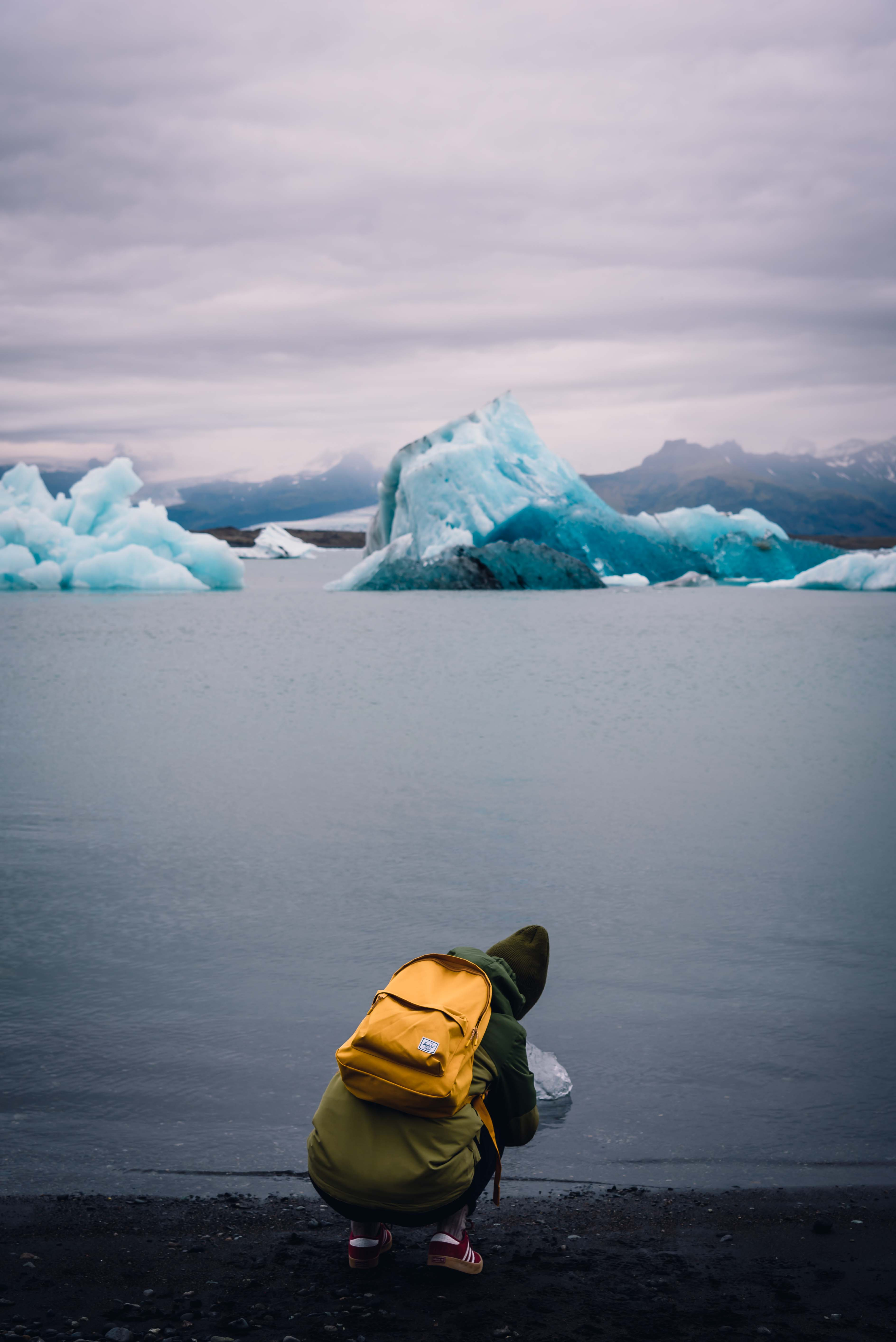 neilson travel photography bay area photographer iceland glaciers yellow backpack