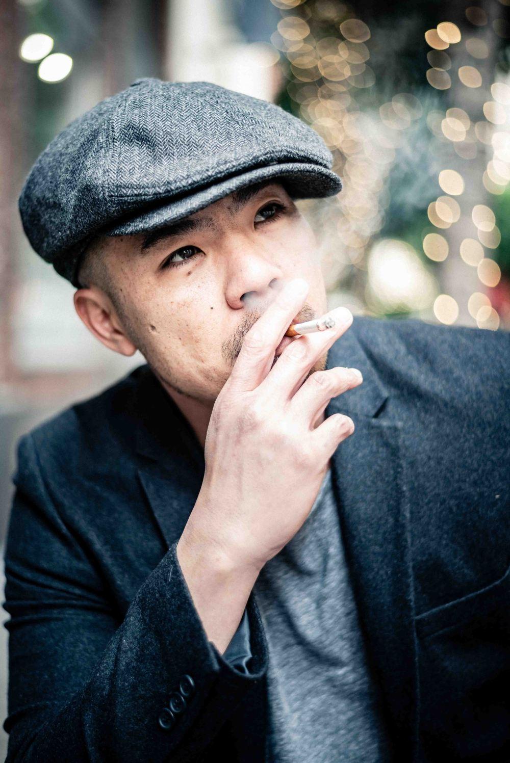 neilson street portrait photography photographer bay area san francisco maiden lane dapper hat smoker