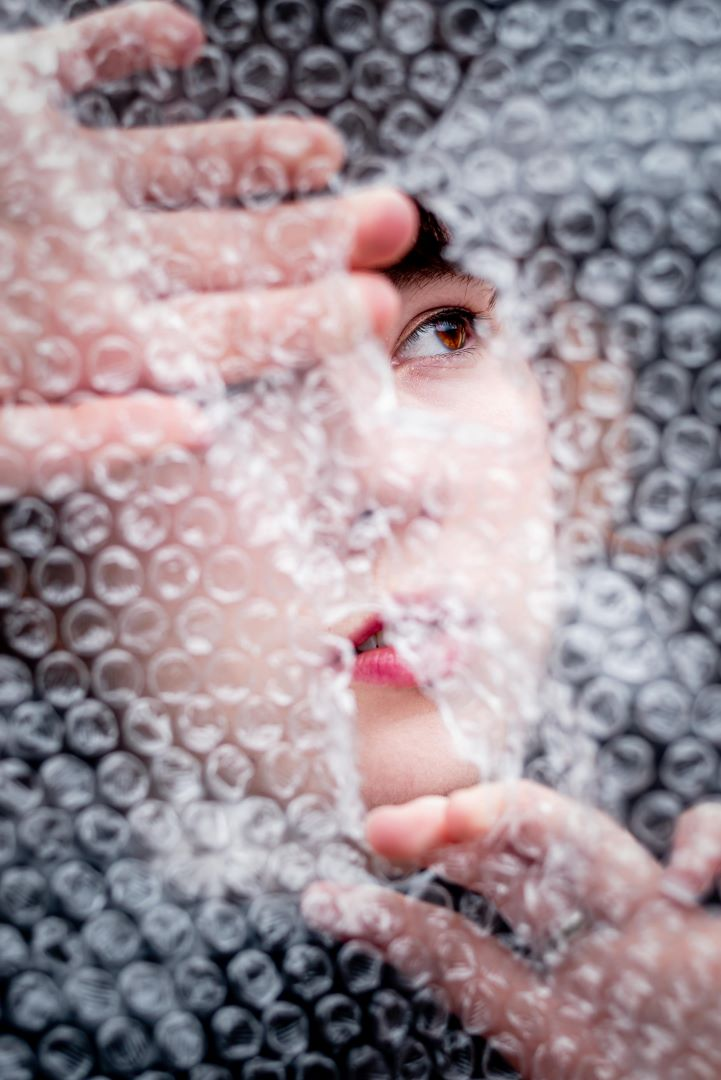 neilson photography bay area san jose covid-19 bubble wrap asphyxiation two hands no ring