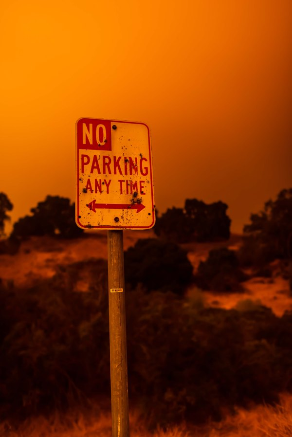 bay area fires backroads no parking sign