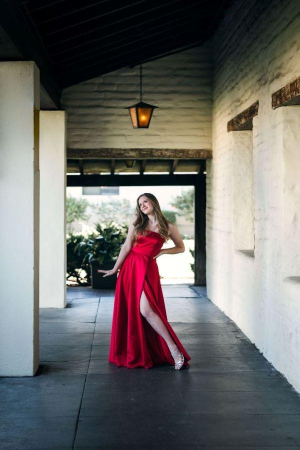 neilson teen prom portrait photography red dress santa clara university pinup pose light